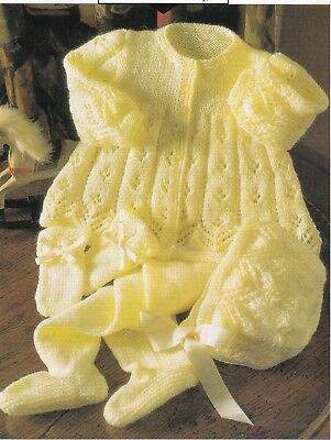 Baby Knitting Pattern in 4 ply  COAT Leggings BONNET Bootees GORGEOUS Design