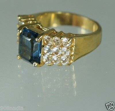 Vintage Gold Plated,pave Crystals & Blue Topaz Ring Size 8
