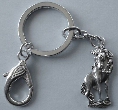 Keyring #374 Pewter UNICORN (35mm x 15mm) Keychain Key Ring Chain