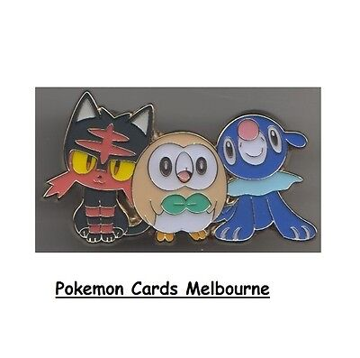POKEMON XY Collectors Pin (Rowlet, Popplio, Litten) Alola Limited Edition (Aus)