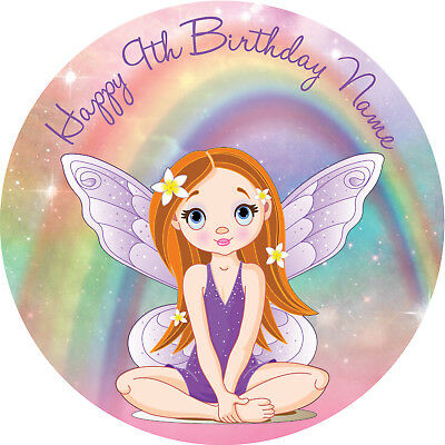 Fairy Rainbow Personalised Edible REAL Icing Birthday Cake Topper