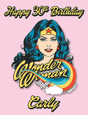 Wonder Woman Retro Personalised Edible REAL Icing Birthday Cake Topper