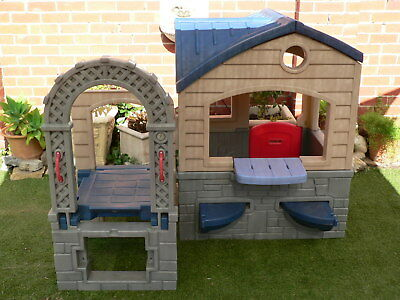 LittleTikes Kids Playground gym roofed cubby house with slide steps table chairs