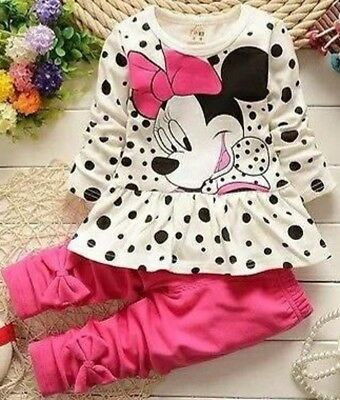 Toddler Kids Baby Girls Minnie Mouse T-shirt+Pants 2pcs Outfits Set Sweatsuit