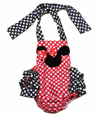 NEW Minnie Mouse Baby Girls Red Polka Dot Ruffle Romper Sunsuit Jumpsuit