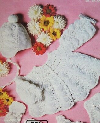 Baby's Matinee Coat/Jacket, Bonnet, Bootees and Mittens Knitting Pattern (MC003)