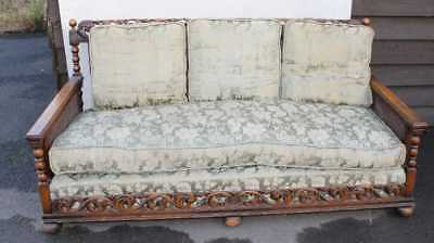 1920's Large Carved Med Oak Settee with Double Cane + feather cushions