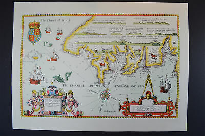 Vintage Marine chart sheet map of Sea coast Lands End to Plymouth Cornwall