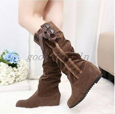 cc34095118fc4 Hot Sell Womens Faux Suede Round Toe Slouch Flats Pull On Knee High Boots  Shoes