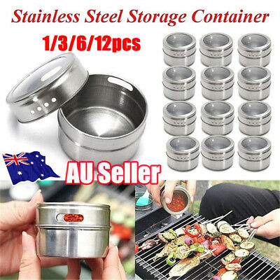 1-12x Magnetic Spice Tin Stainless Steel Storage Container Jar Clear Lid Set ON