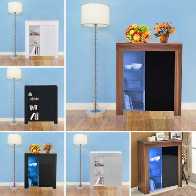 LED Display Cabinet Unit Cupboard Storage Sideboard With 6 Shelves Glass+Wooden