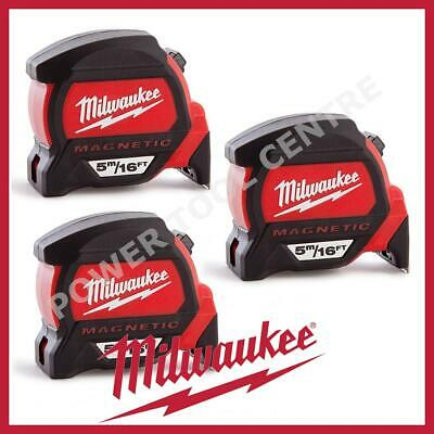 3x Milwaukee 4932459374 5m/16ft Magnetic Tape Measure w/ Finger Stop HP5-16MG/27