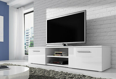 TV Stands & Multimedia Centers 90 cm E-com TV Unit Cabinet Stand Vegas Body Matte Black/Fronts High gloss Black