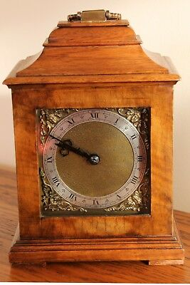 A fine miniature Bracket / Mantel clock by Manoah Rhodes in Oak & Walnut c1900.