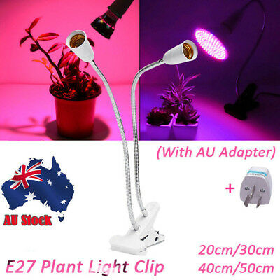 AU Flexible Double Head LED Grow Plant Light Lamp Holder Clip on w/ E27 Bulb