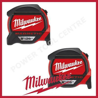 2x Milwaukee 4932464178 Pro Mag Tape 8m/26ft Tape Measure Finger Stop Red Black