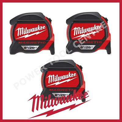 3x Milwaukee 4932464178 Pro Mag Tape 8m/26ft Tape Measure Finger Stop Red Black