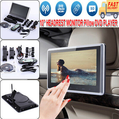 "10.1"" HD Digital LCD Screen Car Headrest Monitor DVD/USB/SD Player IR/FM HDMI US"