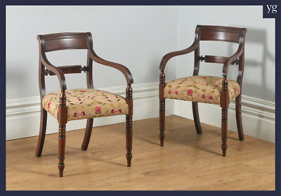 Antique Pair Two 2 Georgian Regency Mahogany Office Desk Elbow Armchairs c.1830