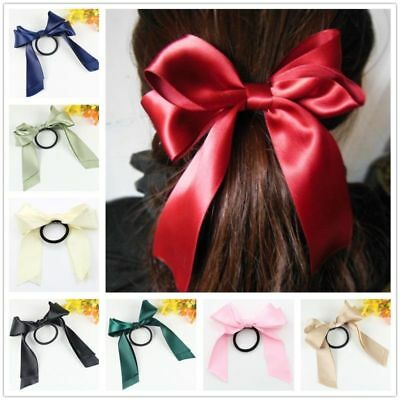 Women Lady Satin Ribbon Bow Hair Band Rope Scrunchie Ponytail Holder Ties Colors