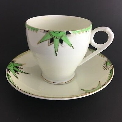 Wellington China Longton England Cup And Saucer Cream Base Green Star Design GT