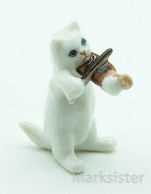 Figurine Animal Ceramic Statue White Cat Playing Violin - FG055-4
