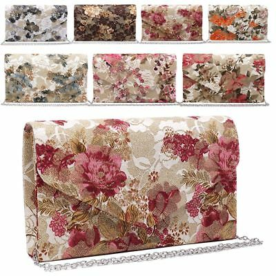 New Retro Floral Satin Lace Ladies Evening Wedding Clutch Bag