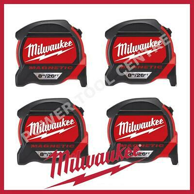 4x Milwaukee 4932464178 Pro Mag Tape 8m/26ft Tape Measure Finger Stop Red/Black
