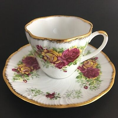 Queens Fine Bone China Small Teacup And Saucer Stratford Red Roses Gold Trim