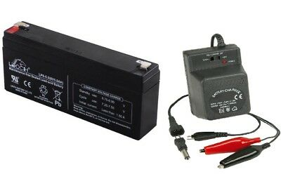 Toy Car Battery and Charger Combo LONG TYPE 6v 5ah Battery & 6 Volt Charger
