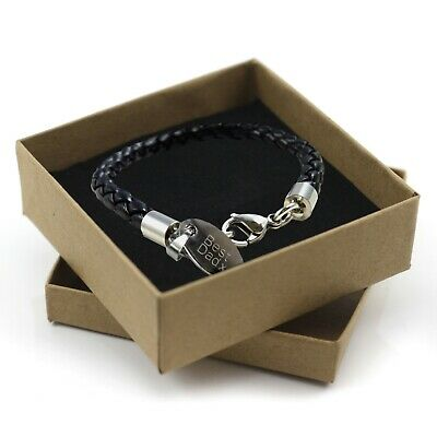 Christmas Jewellery Gift for Men Personalised Engraved Tag Leather Bracelet
