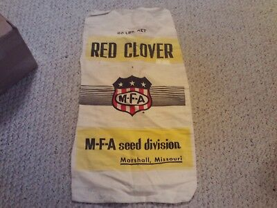 Vintage Mfa Red Clover Seed Sack Beautiful Condition Marshall Missouri