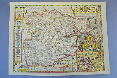 Vintage decorative sheet map of Essex John Speede 1610 Colchester town plan