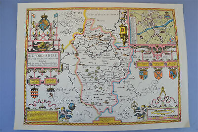 Vintage decorative sheet map of Bedfordshire John Speede 1610 town plan