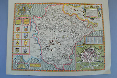 Vintage decorative sheet map of Devonshire John Speede 1610 Devon