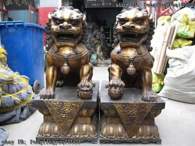 China royal Palace Old Bronze Copper BeiJing FengShui Guardian Foo Dog Lion Pair