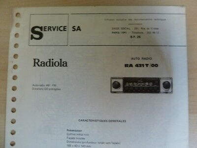 Doc. technique Autoradio Radiola RA 431 T / 00
