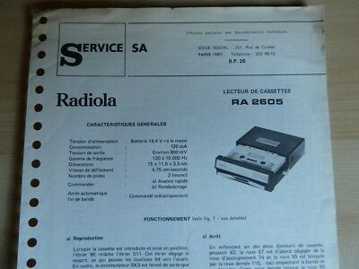 Doc. technique Autoradio Radiola RA 2605