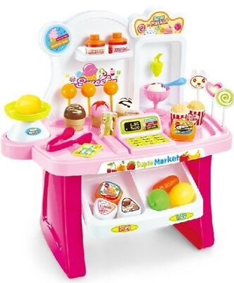 Role Play Kids Toy Girls Pretend Ice Cream Shop Set Desserts Treats 34 Pcs
