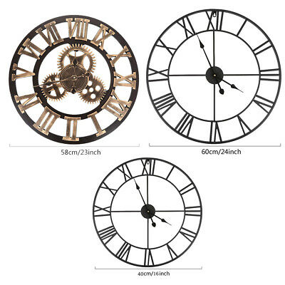 Large Traditional Vintage Style Wall Clock Metal Roman Numeral 40/58CM Home