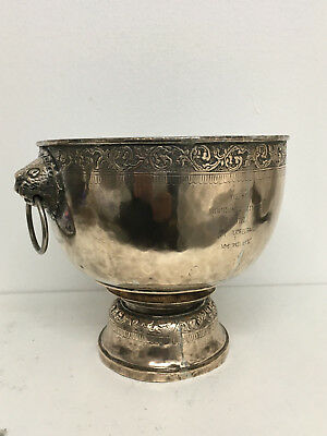 Marked Large Gilded Solid Silver Footed Thai Bowl With Lions Masks 520 Grams