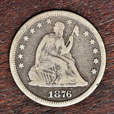 1876 Liberty Seated Quarter - VG Details (#10973)