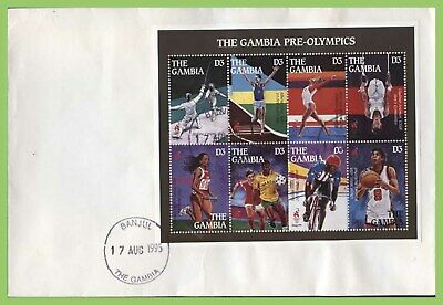 The Gambia 1995 Pre Olympic Games m/s (grey margin) First Day Cover