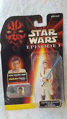 Star Wars Episode I Obi-Wan Kenobi w/ Lightsaber Action Figure CommTech Chip