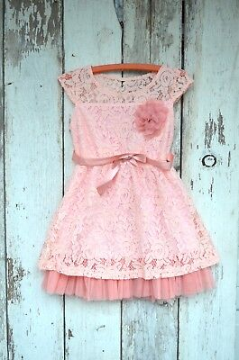 Girls Pink Lace Dusty Rose Dress Easter Spring Toddler 2t 3t 4t
