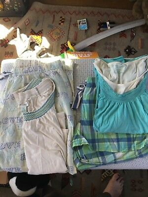 2 sets Nursing pajamas motherhood maternity shorts pants aqua pajama lot of 2