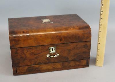 19thC Antique MOP Inlaid Burl Veneer Gentlemans Chest Box, Watch Holder, NR