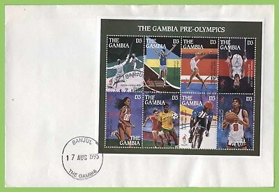 The Gambia 1995 Pre Olympic Games m/s (green margin) First Day Cover