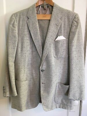 40R Mens 1950s ATOMIC FLECK Gray Rockabilly Suit VTG jacket drop loop pants VLV