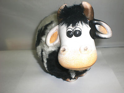 Child's 1st First Ceramic Hand Painted Fuzzy Black & White Cow Piggy Bank New